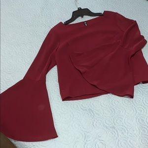 Bell Sleeve Tie Up Back Burgundy Blouse